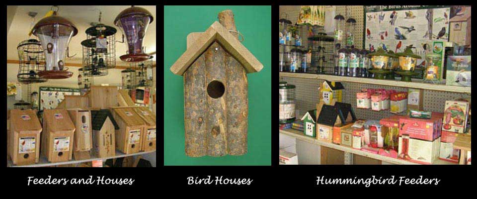 Bird feeders, bird houses, seed
